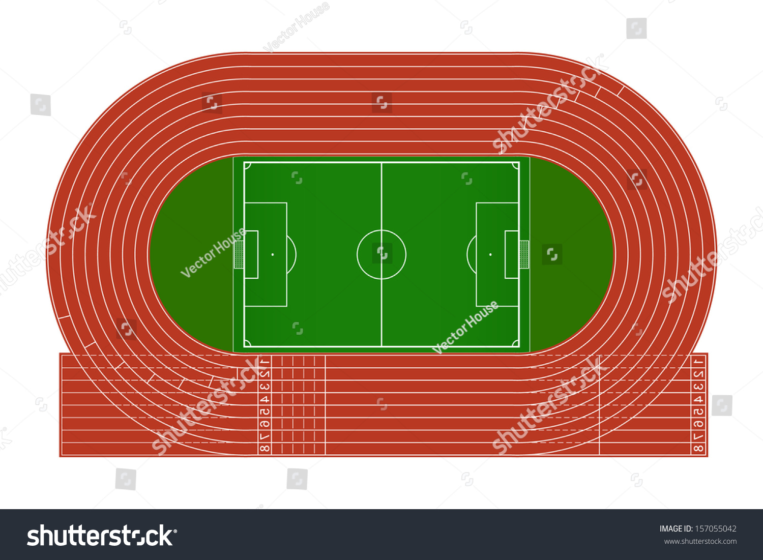 top view running track soccer field stock vector 157055042