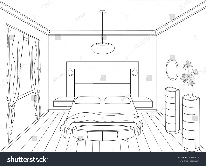 Interior Design Line Art Vector : Royalty free editable vector illustration of an