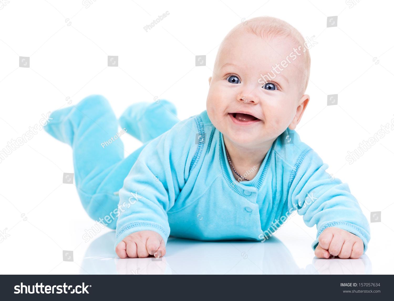 Happy Baby Boy Over White Background Stock Photo 157057634
