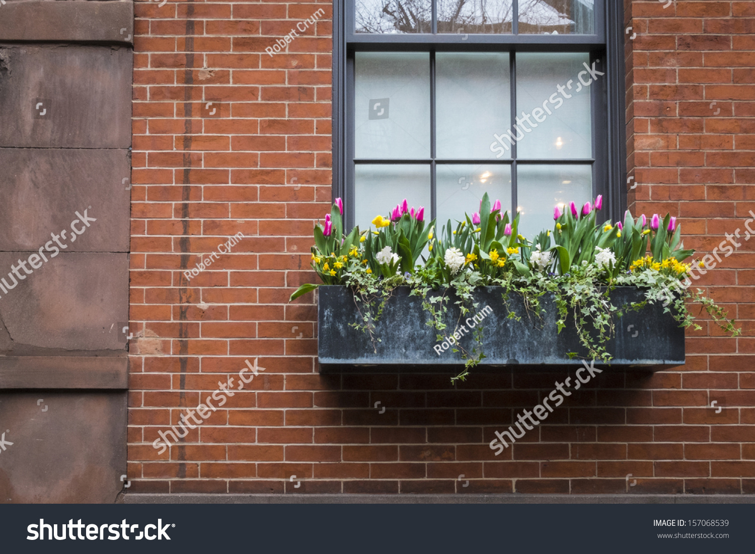 Brick Apartment Building Window window box spring flowers on old stock photo 157068539 - shutterstock