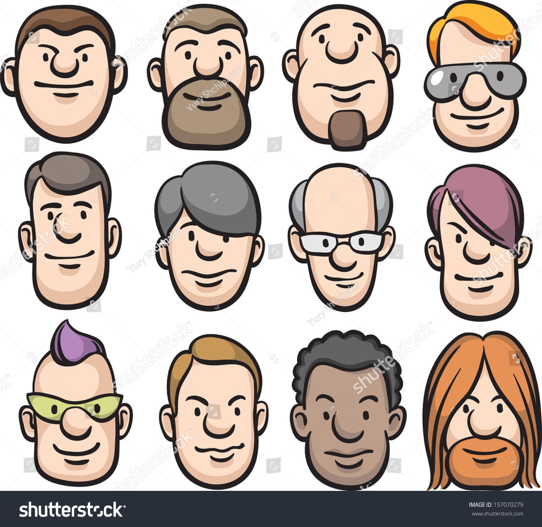 Vector Illustration Cartoon Faces Easyedit Layered Stock Vector ...