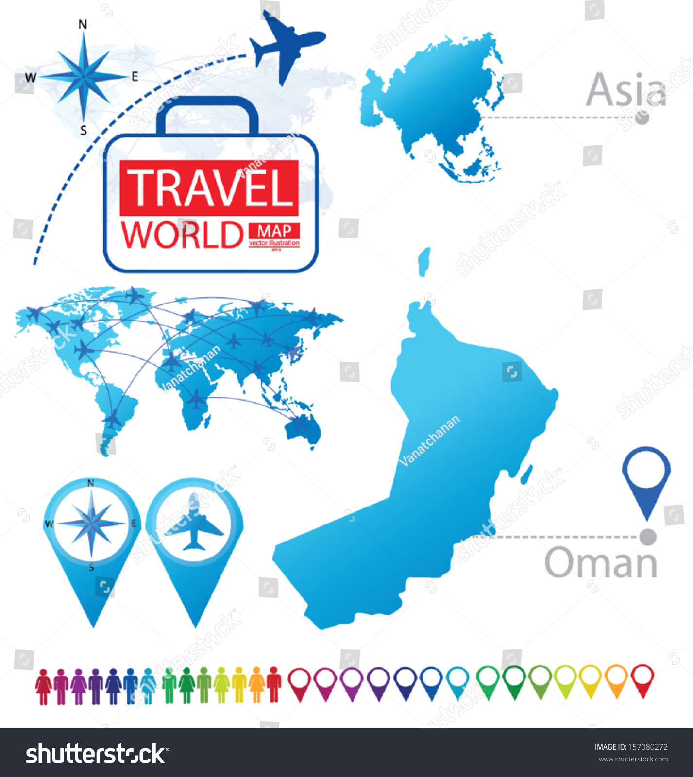 Sultanate Oman Asia World Map Travel Stock Vector - Oman in world map