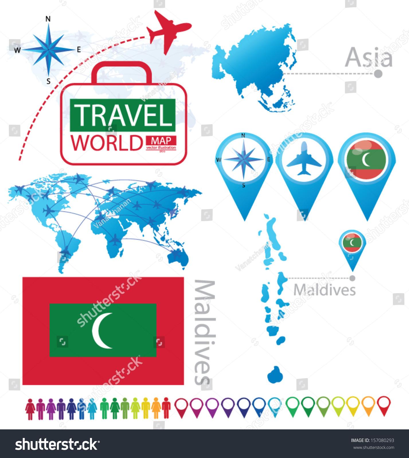 Republic Maldives Flag Asia World Map Stock Vector - Maldives map world