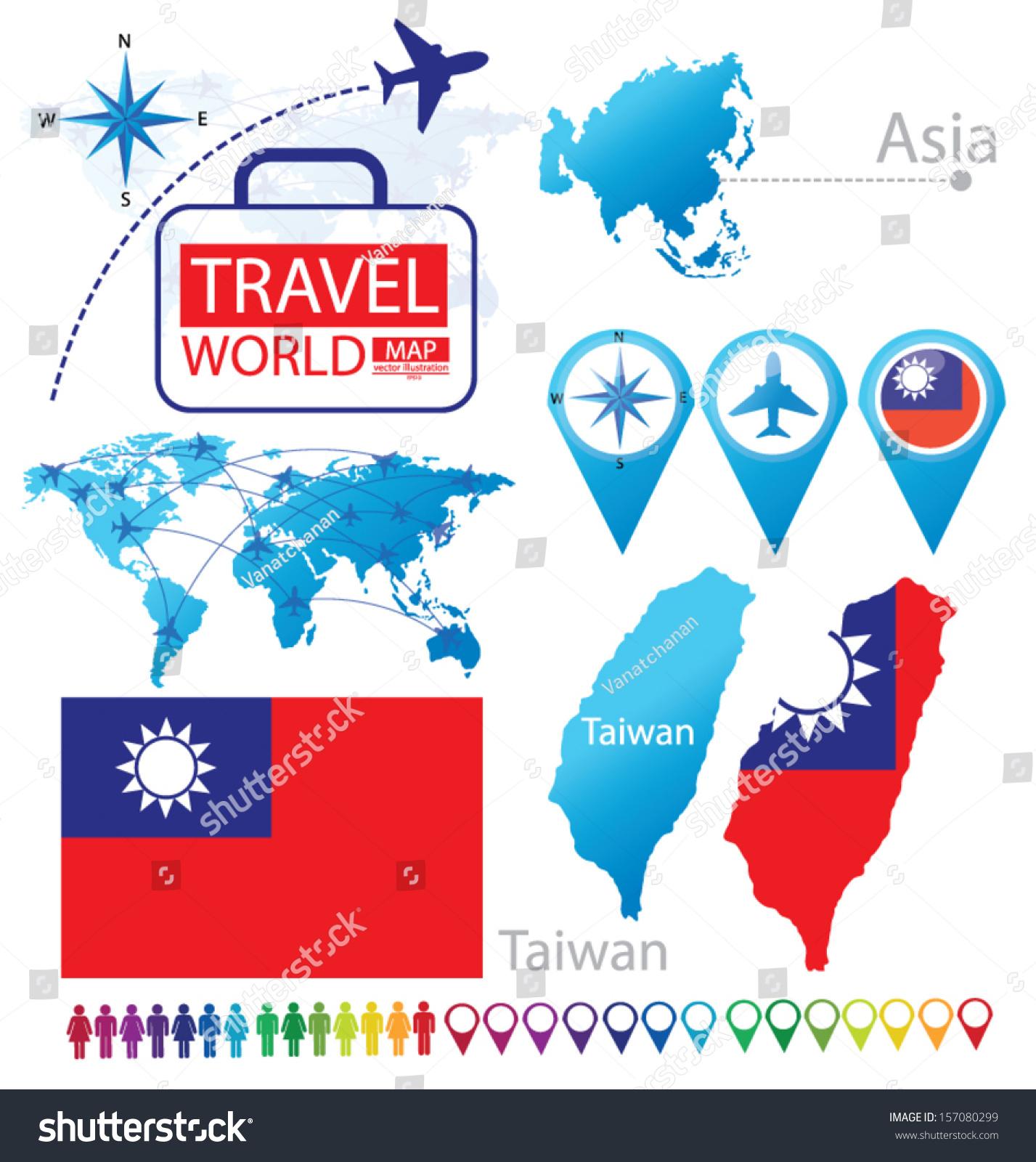 Asia Map Taiwan.Taiwan Flag Asia World Map Travel Stock Vector Royalty Free
