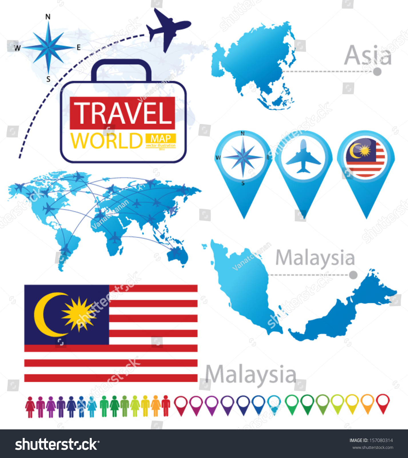 Malaysia flag asia world map travel stock vector 157080314 world map travel vector illustration gumiabroncs Choice Image