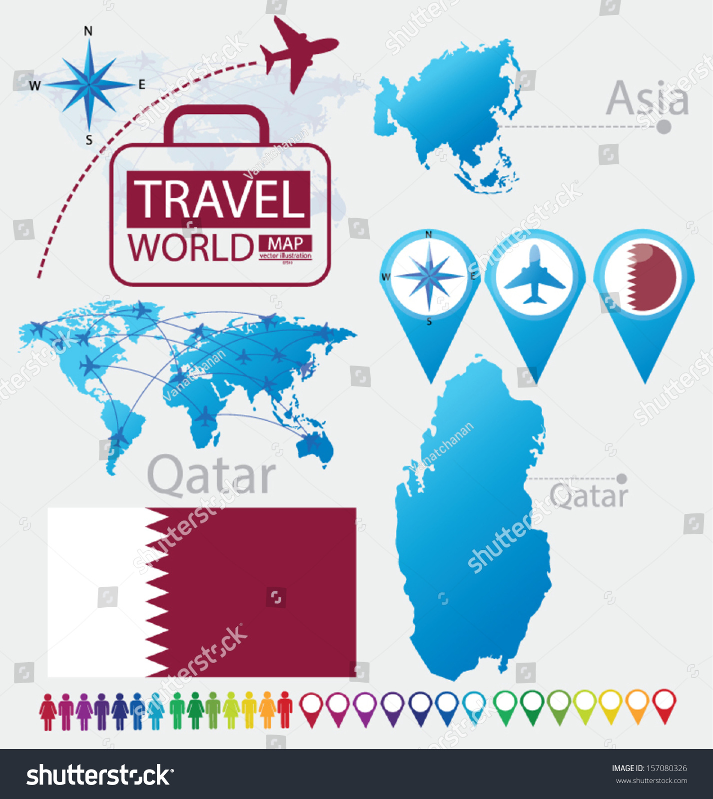 Qatar Flag Asia World Map Travel Stock Vector 157080326 Shutterstock