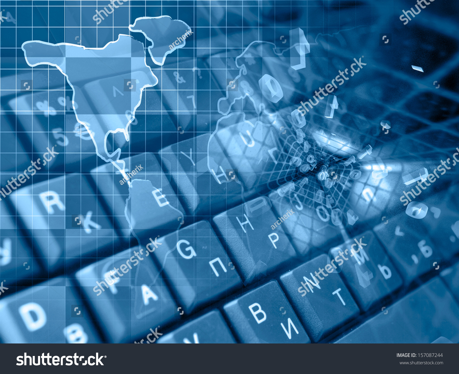 Digits Map Abstract Computer Background Blues Stock Photo ...