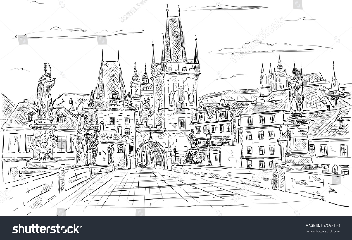 Vector Charles Bridge Prague Czech Republic Ez Canvas