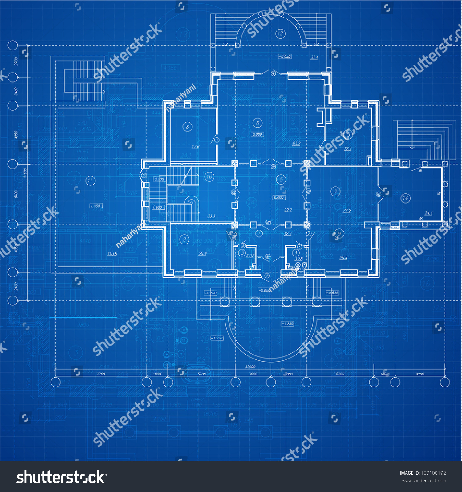 Urban Blueprint (vector). Architectural background. Part of ...