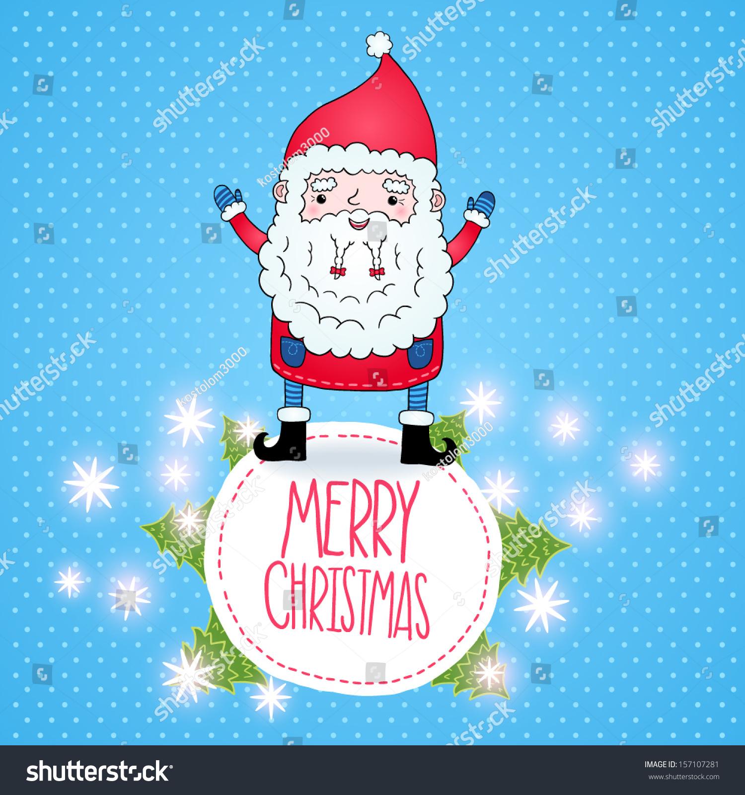 Cute cartoon Santa Claus Christmas card | EZ Canvas