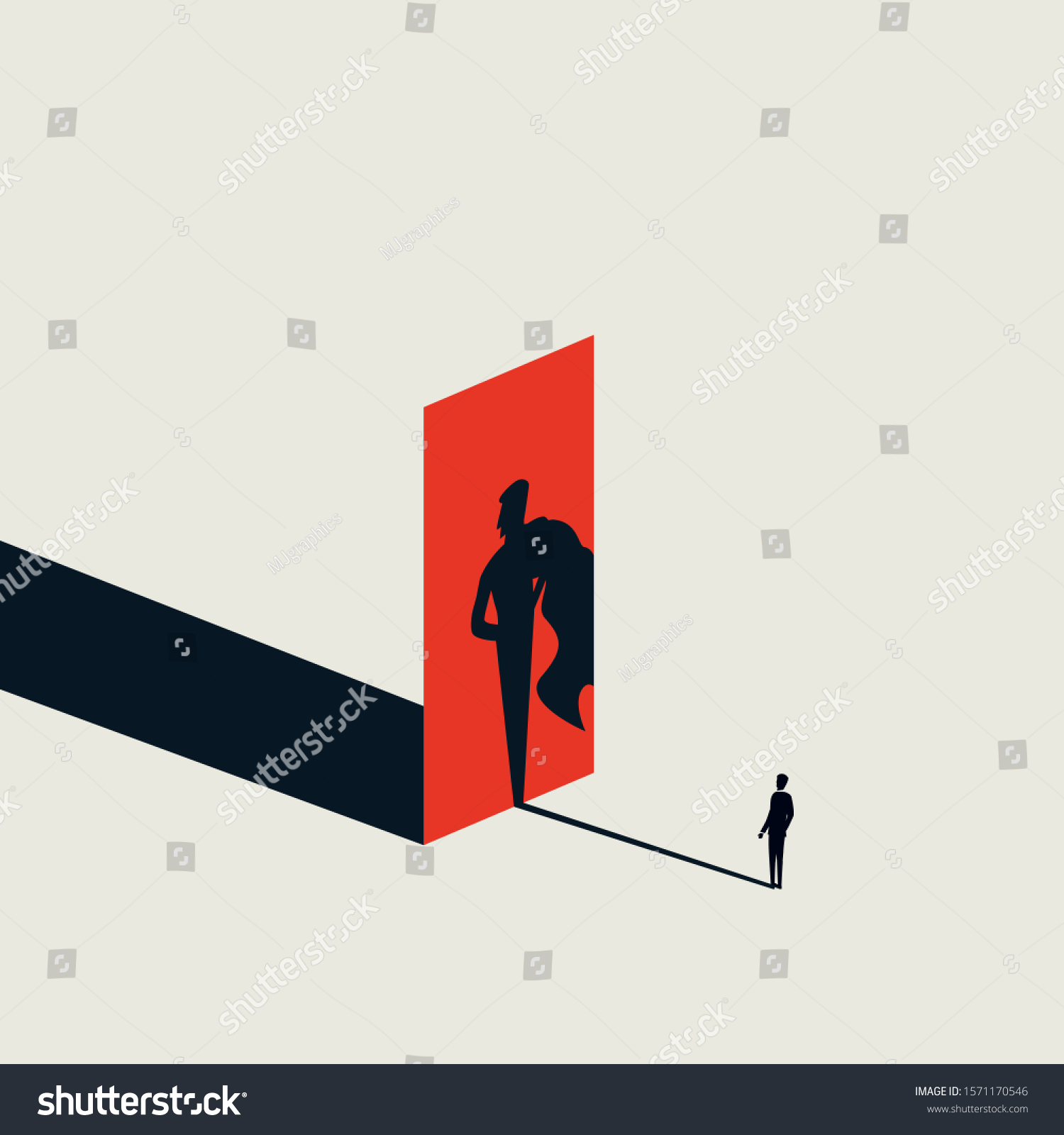 Businessman looking at his superhero shadow vector concept. Symbol of ambition, career progress, motivation. Confident leader and manager. Eps10 illustration.