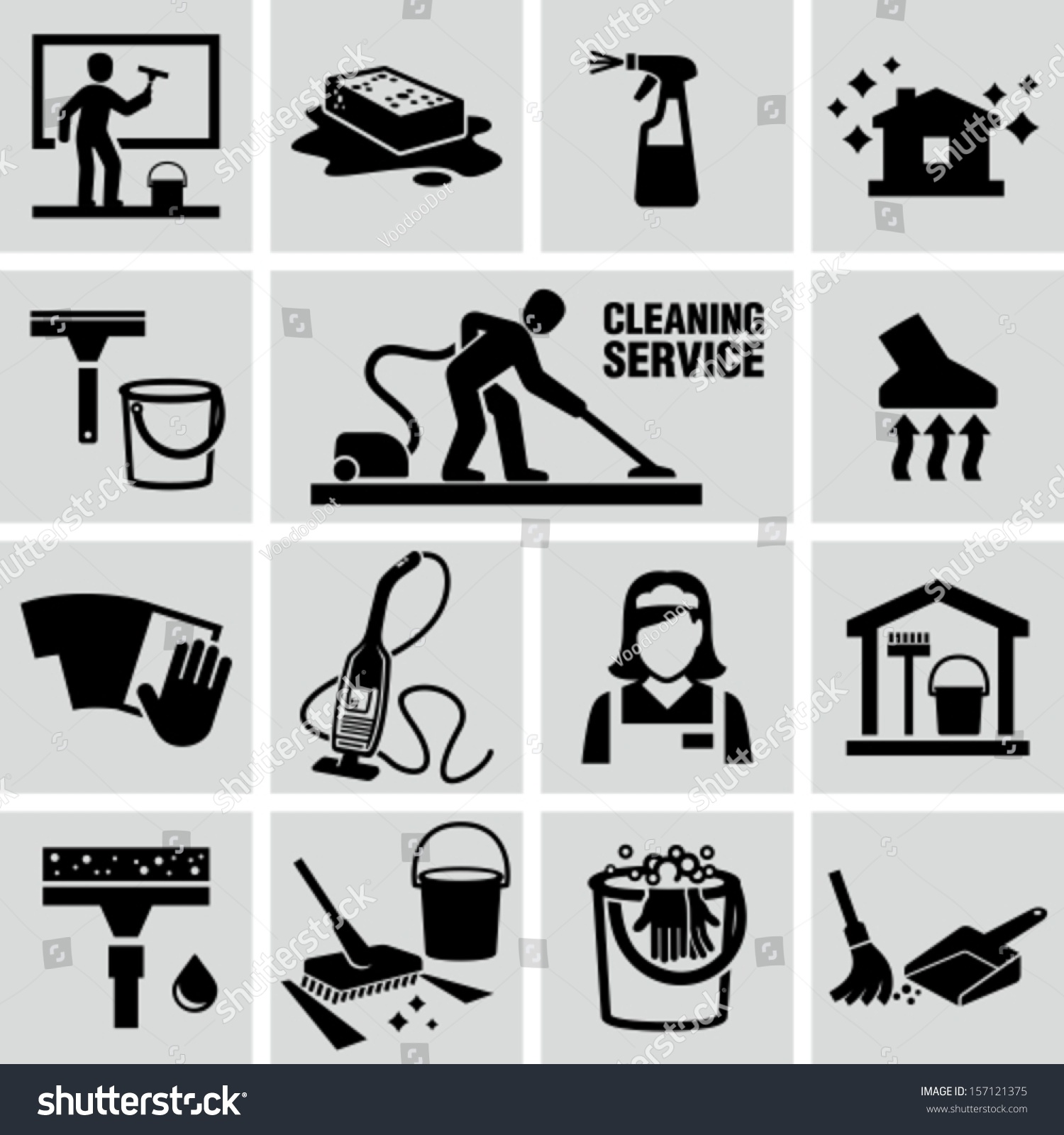 Cleaning Icons Stock Vector 157121375 Shutterstock