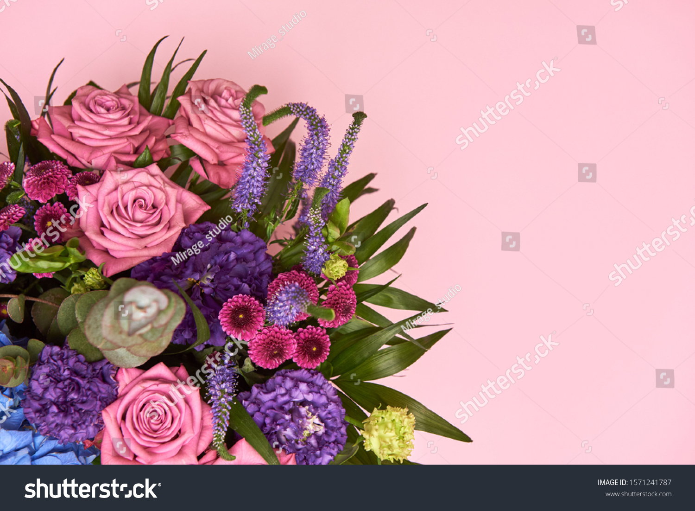 Beautiful Bouquet Pink Purple Blue Flowers Stock Photo Edit Now 1571241787