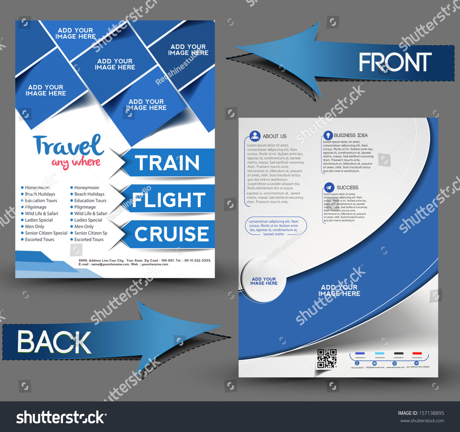 Vector Brochure Flyer Magazine Folder T Shirt Cover: Vector Travel Center Brochure Flyer Magazine Stock Vector