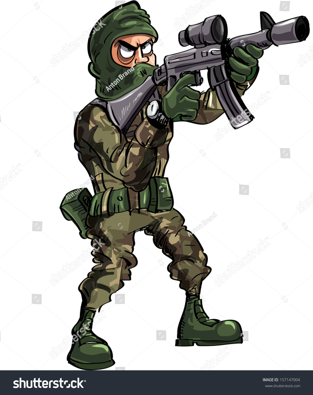 Cartoon Soldier With Gun And Balaclava. Isolated On White ... Soldier With Gun Cartoon