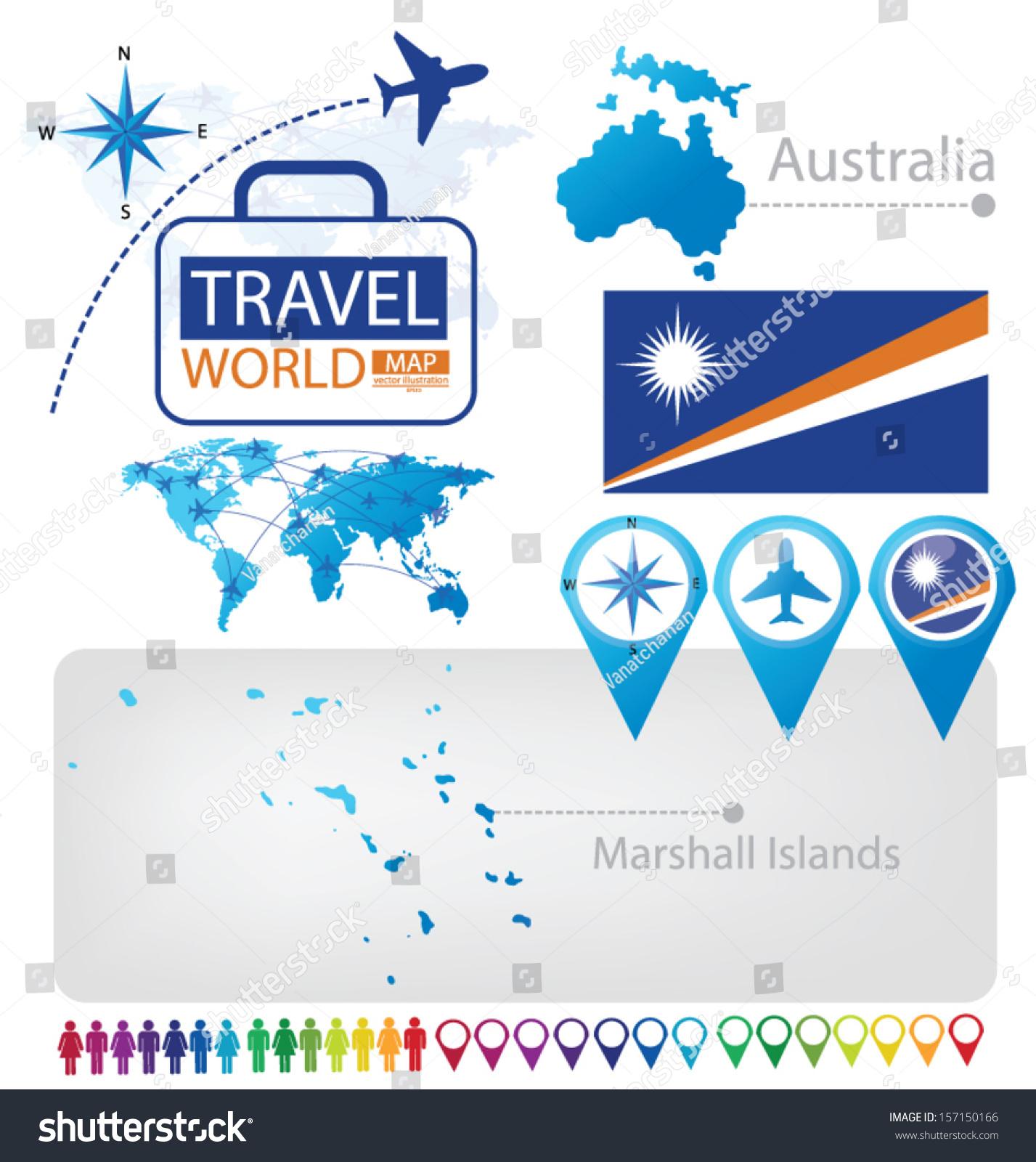 Republic Marshall Islands Australia Flag World Stock Vector (Royalty ...