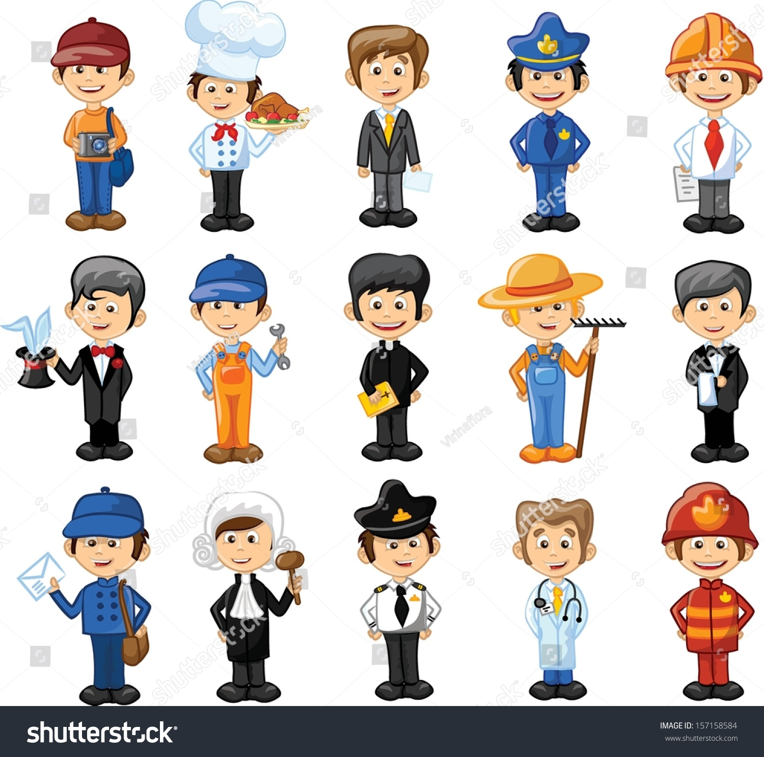 Cartoon characters different professions stock vector for Arts and craft jobs