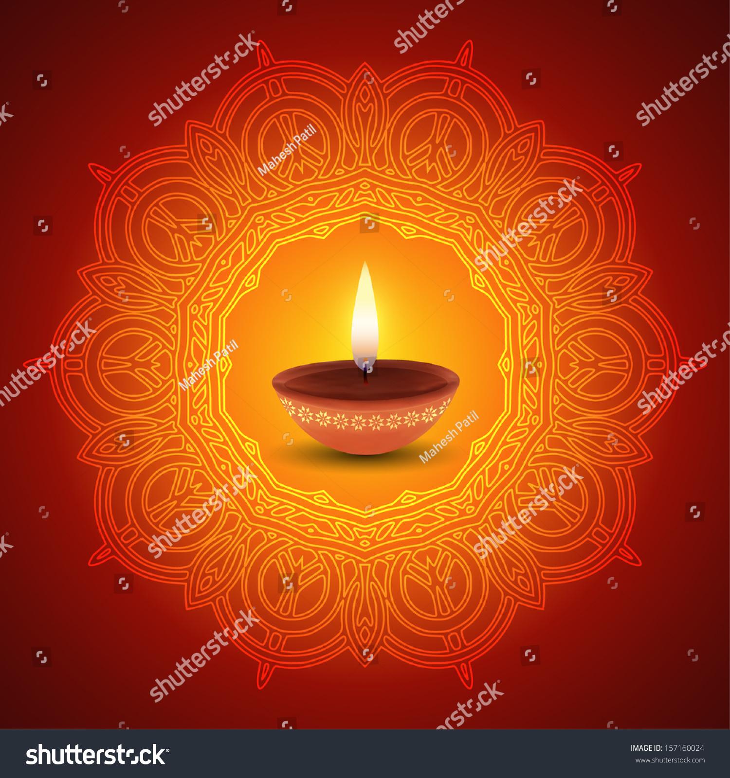 decorative diwali lamp design stock vector 157160024 shutterstock