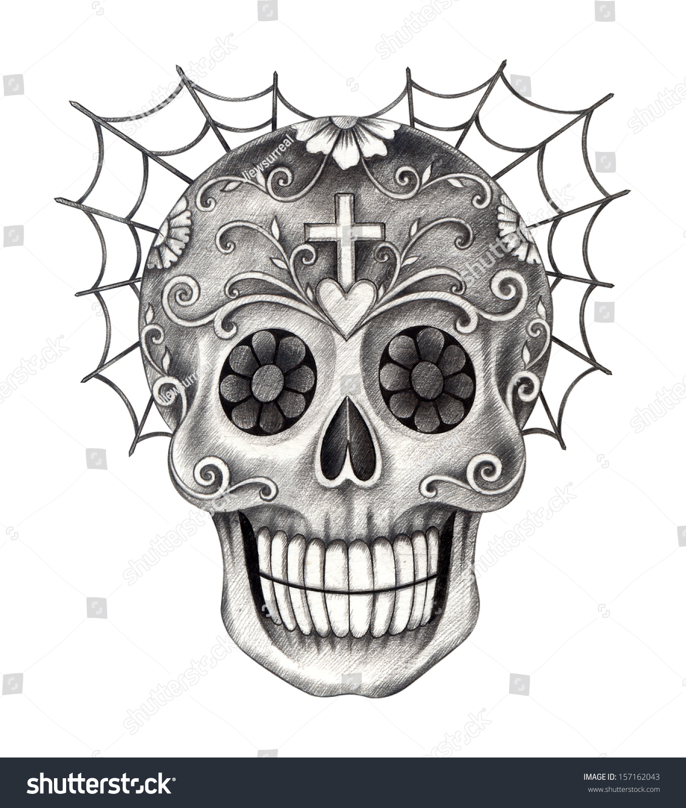 Day Of The Dead Hand Tattoo: Art Skull Day Dead Hand Drawing Stock Illustration