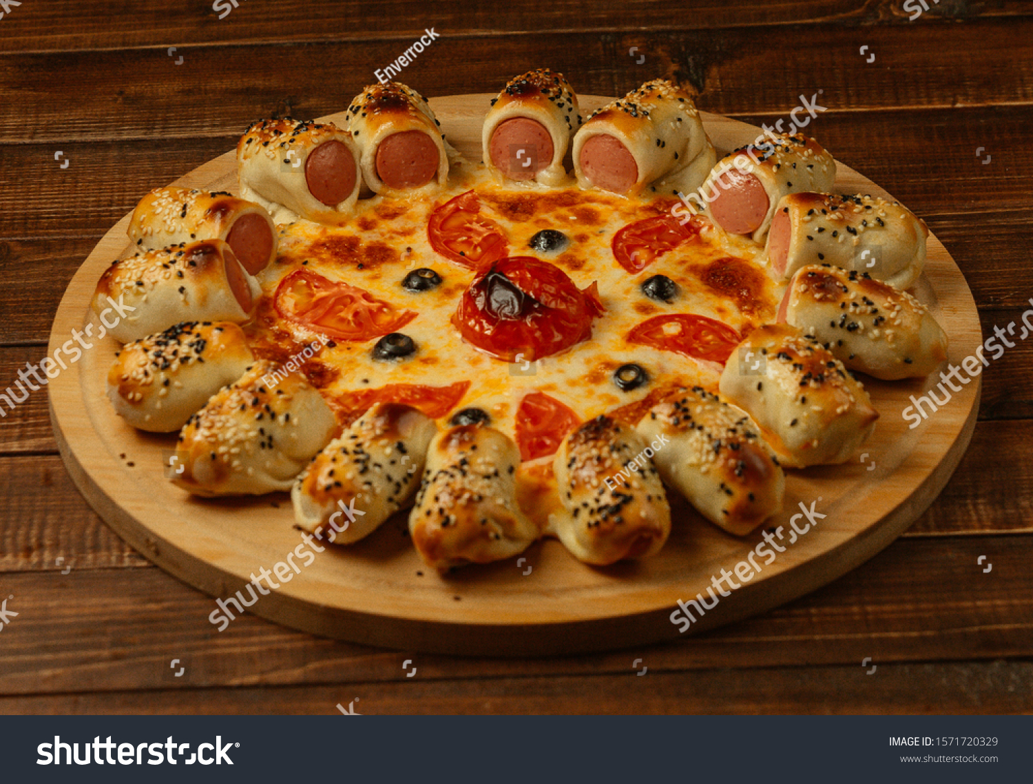 Pizza Sousage On Wooden Plate Closeup Stock Photo Edit Now 1571720329