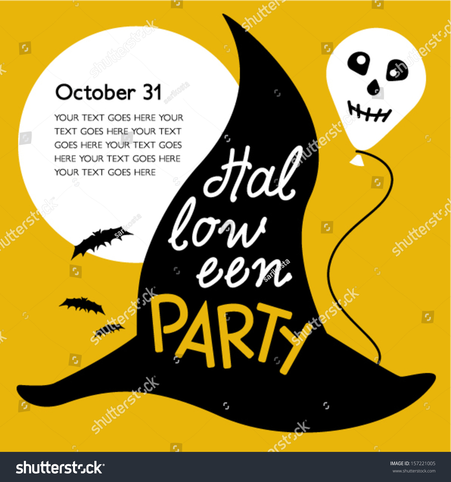 Halloween Party Invitation Card Stock Vector 157221005 - Shutterstock