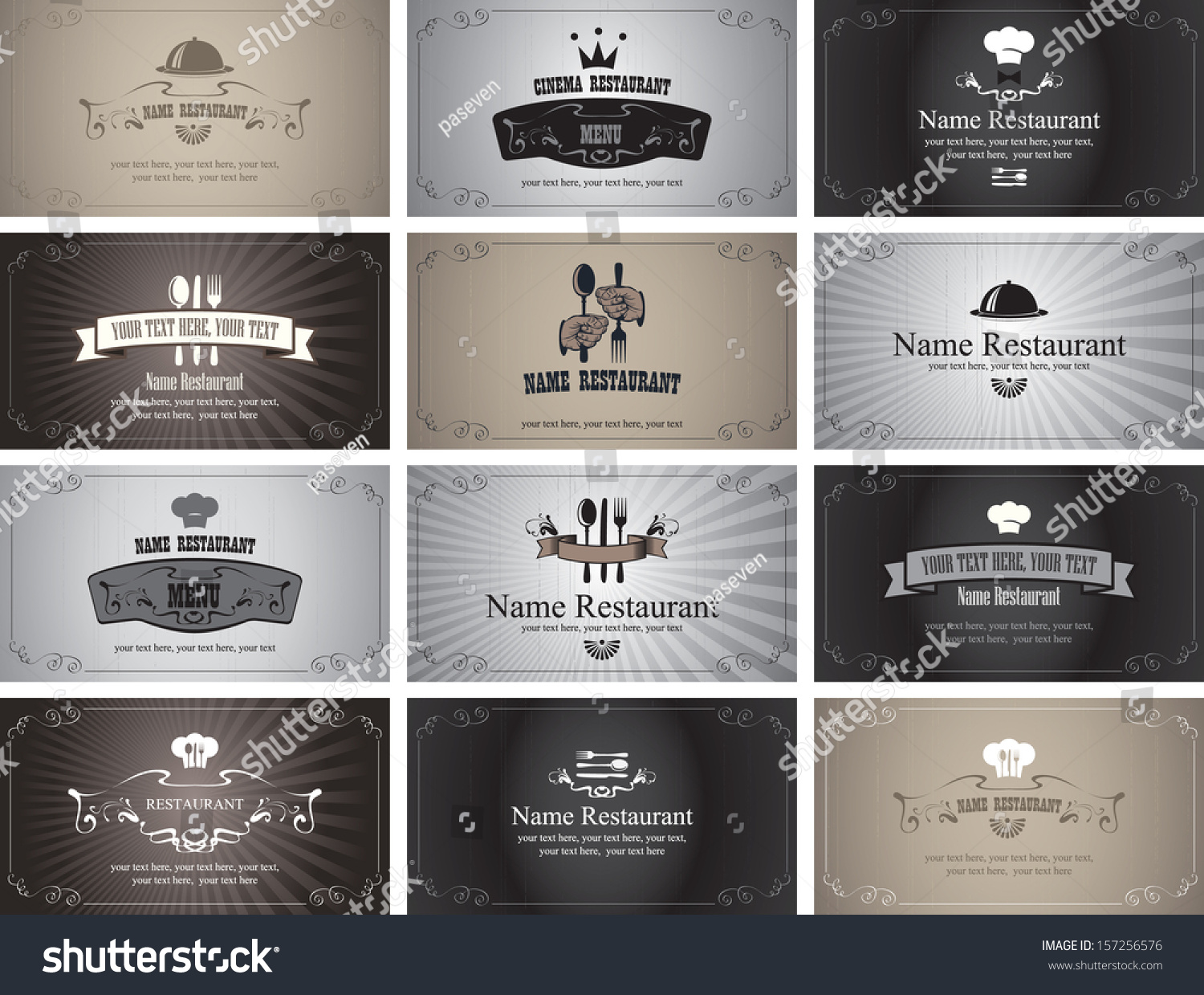 Bien-aimé Set Business Cards On Theme Food Stock Vector 157256576 - Shutterstock MD04