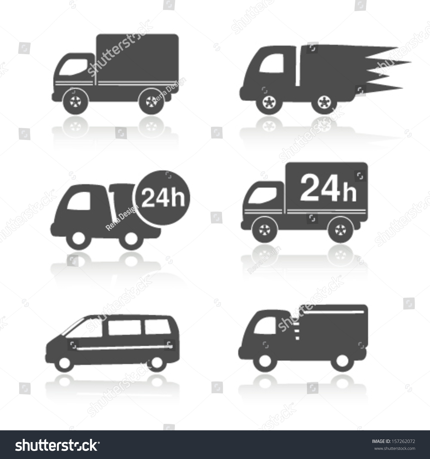 Vector Truck Symbols Shadow Delivery Within Stock Vector 157262072 ...