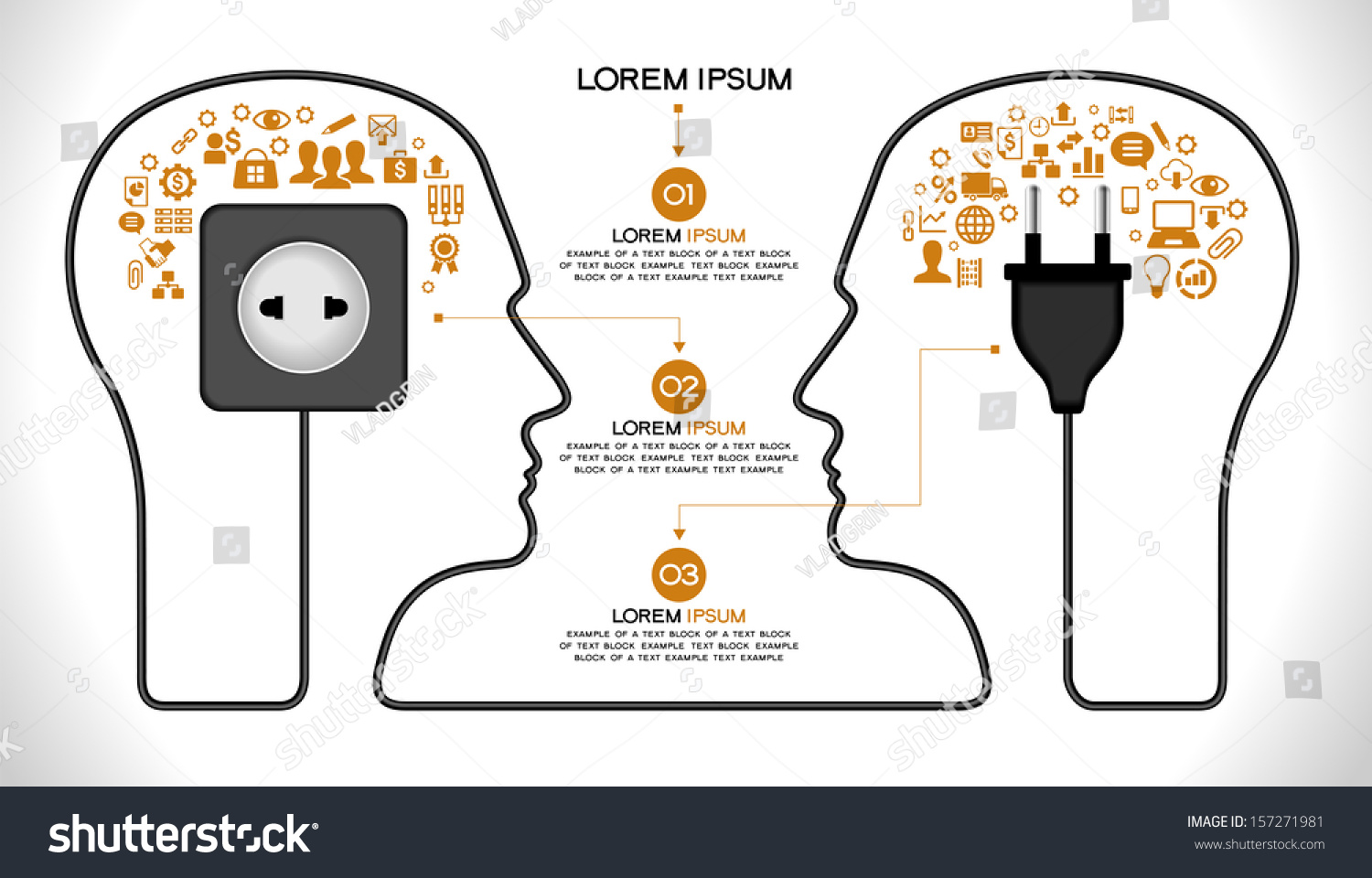 template infographic concept modern business teamwork stock vector concept of modern business and teamwork two human head the brain