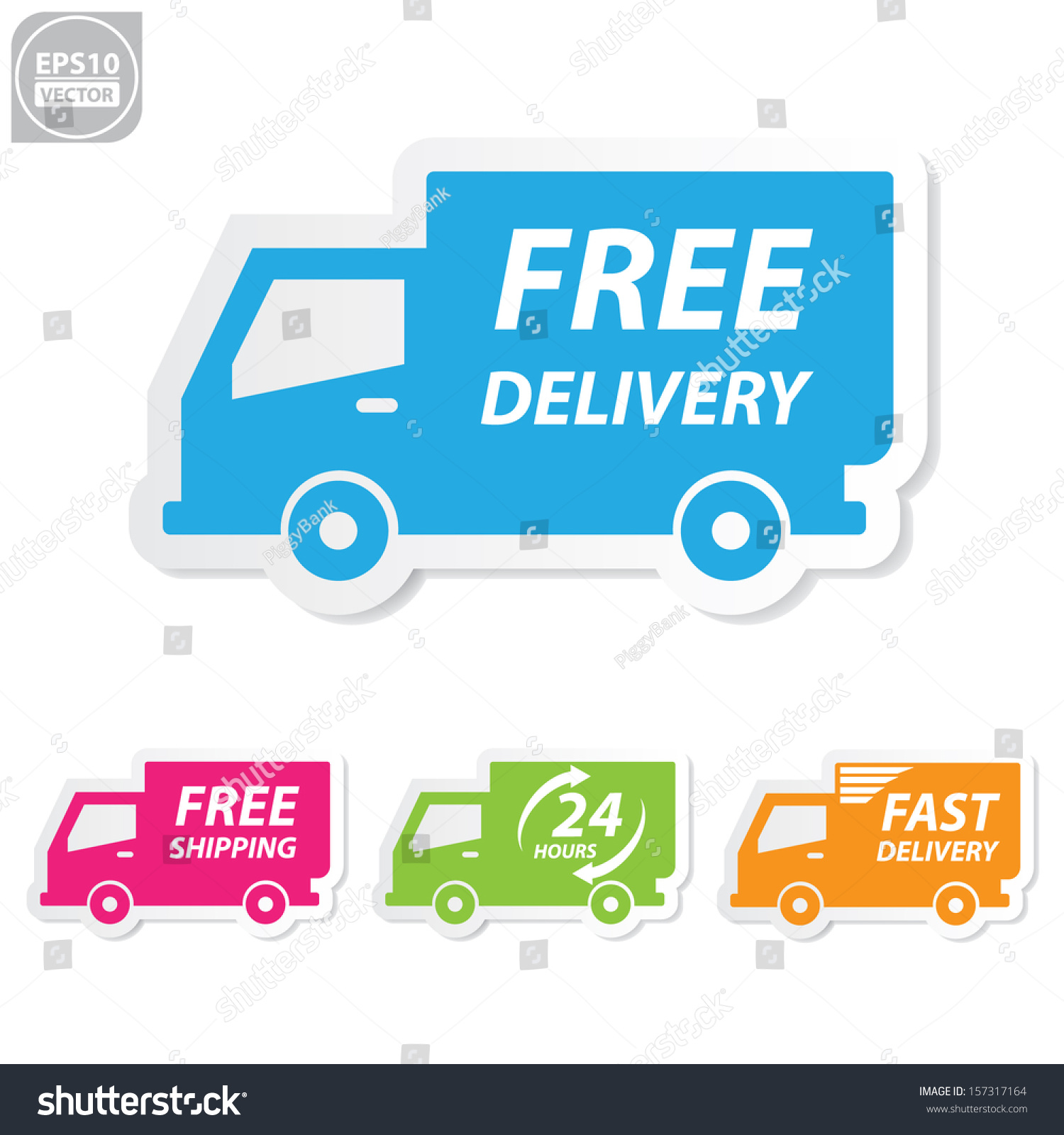Shipping Delivery: Vectorfree Delivery Free Shipping 24 Hour Stock Vector