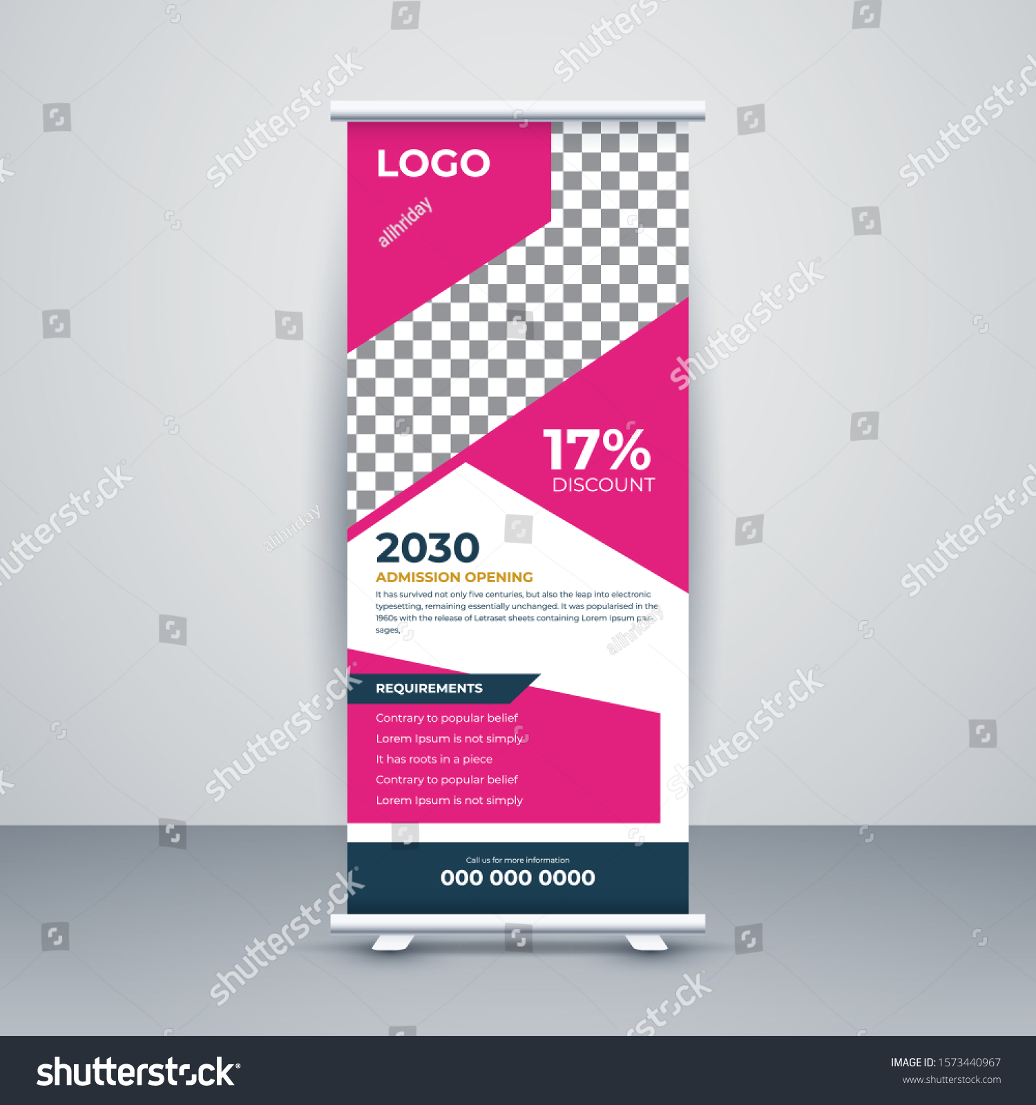 Education Roll Banner Stand Template Creative Stock Vector Royalty Free 1573440967