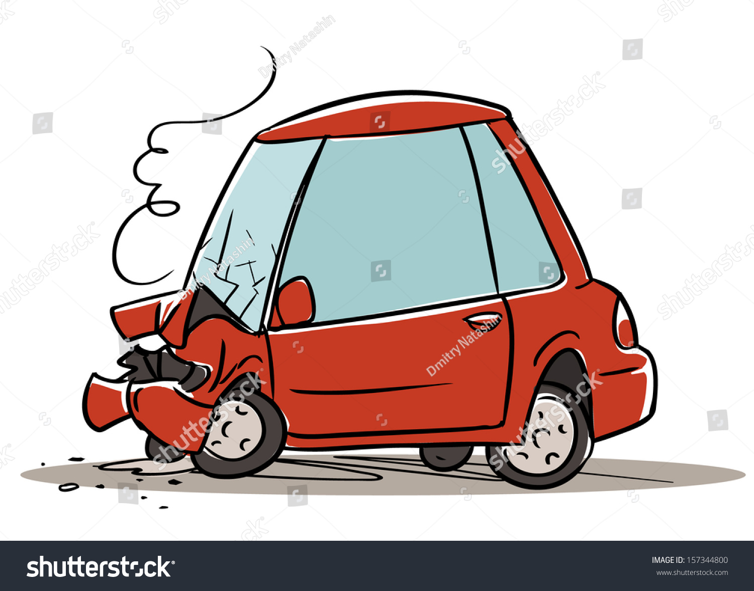 Car Crash Cartoon Illustration Isolated On Stock Vector (Royalty ...