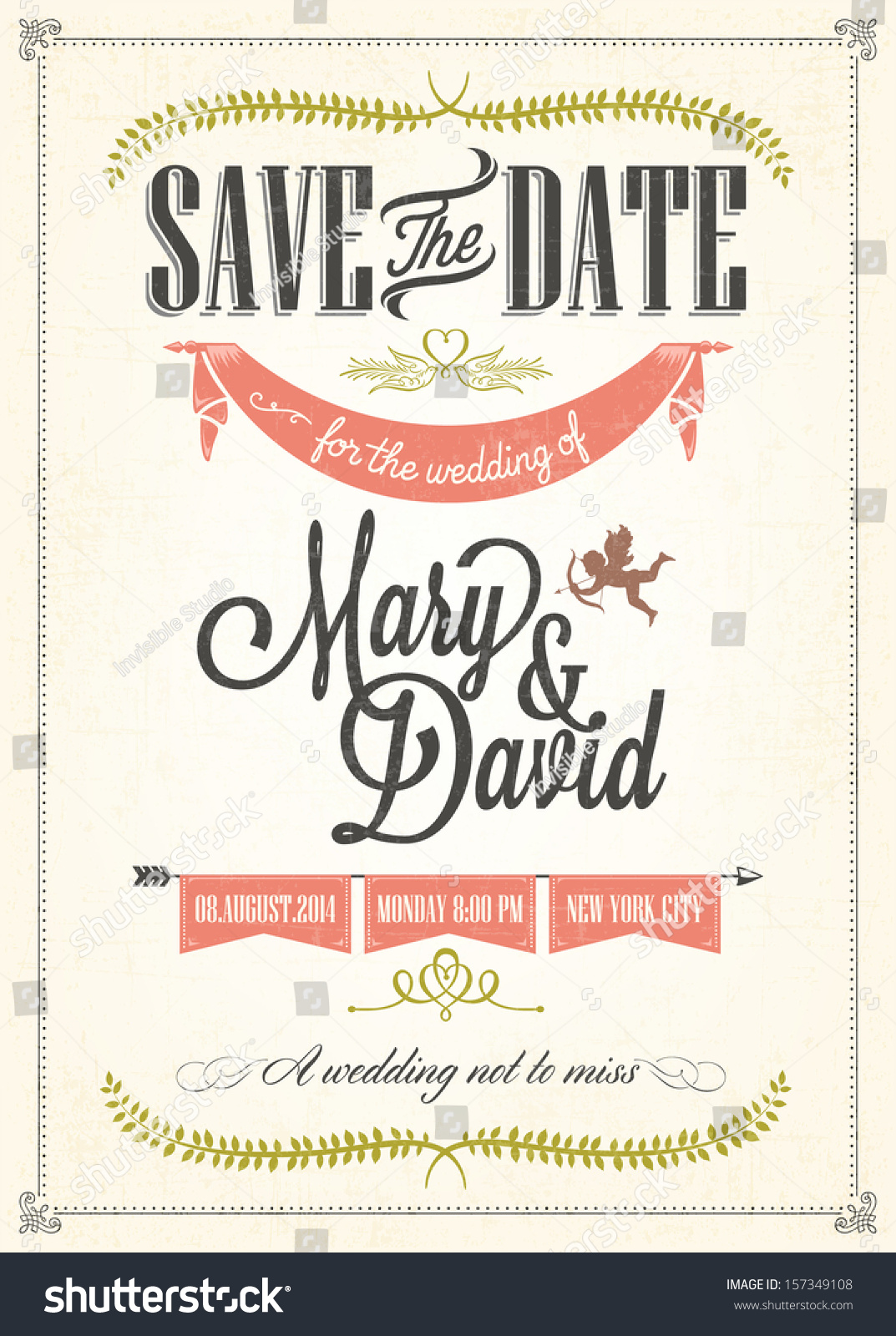 Save Date Wedding Invitation Card Vector 157349108 – Save the Date Wedding Invite