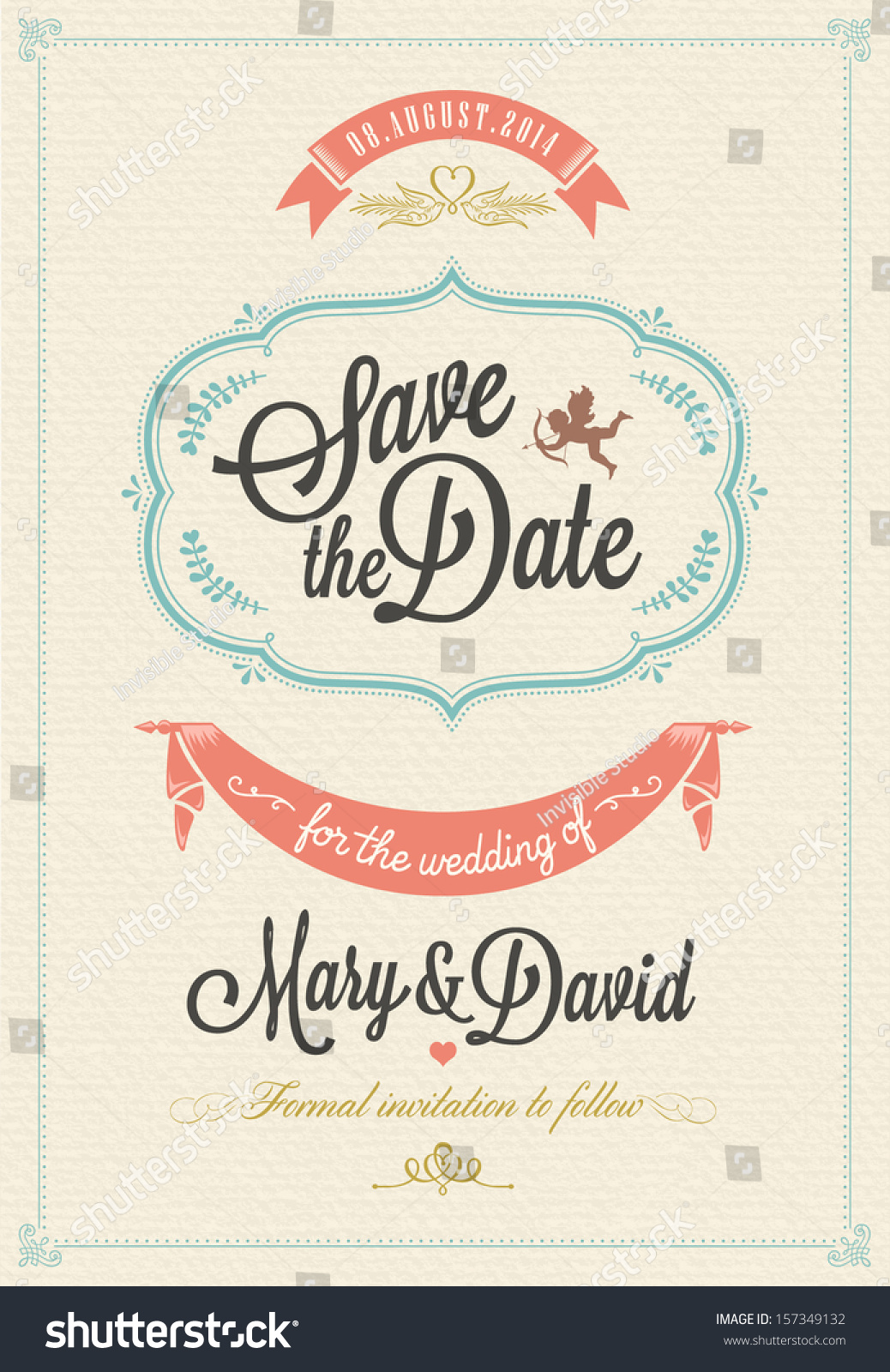 Save Date Wedding Invitation Card Stock Vector 157349132 ...
