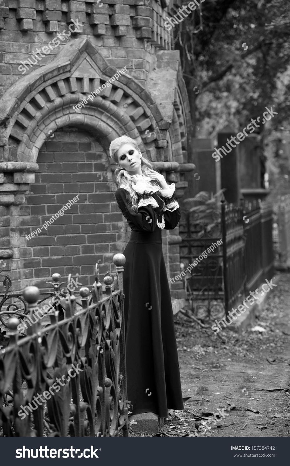Beautiful gothic girl cemetery blackandwhite photo stock photo edit