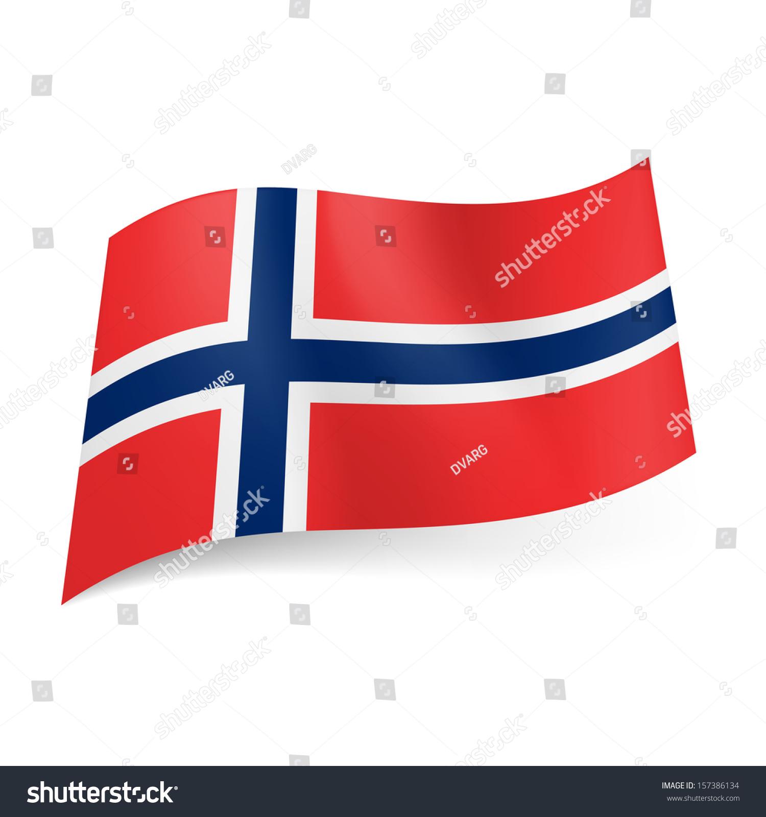 National Flag Norway White Bordered Blue Stock Vector ...