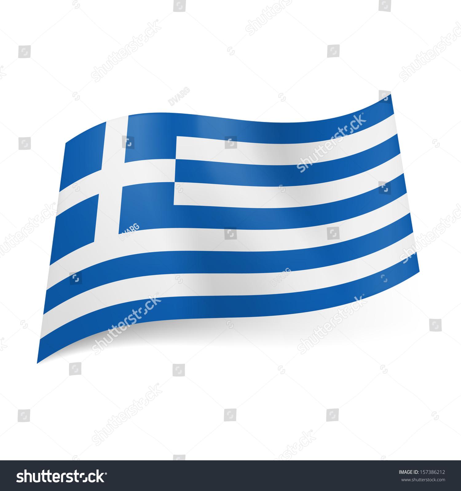 National Flag Greece Blue White Horizontal Stock Vector