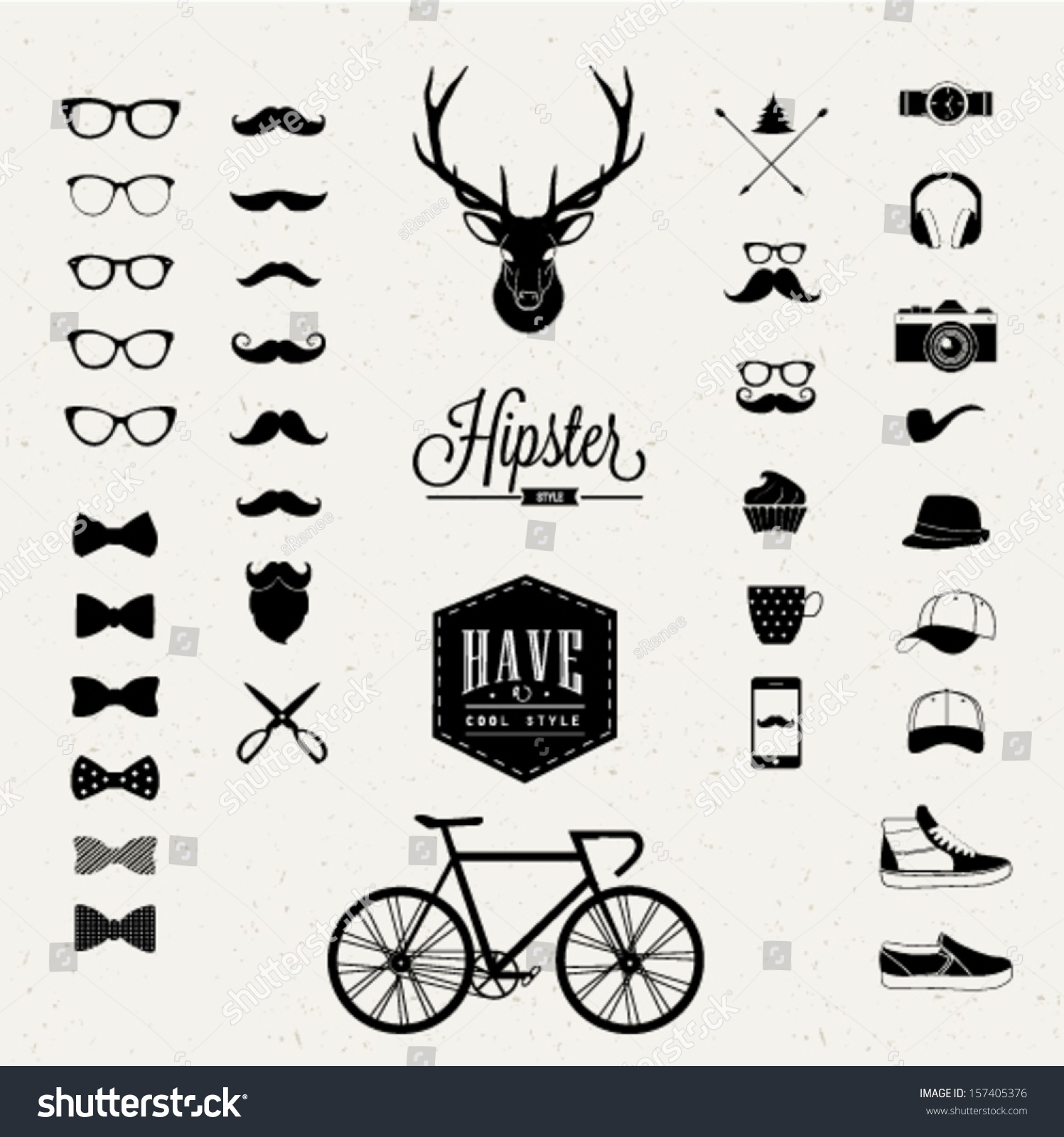 Hipster Style Icon Set Stock Vector 157405376