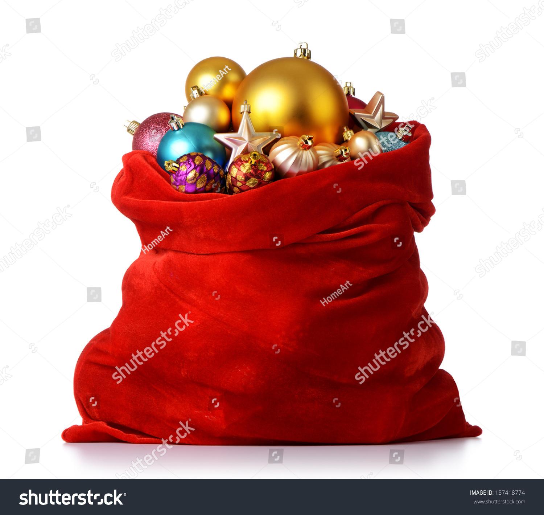 santa claus red bag christmas toys stock photo 157418774