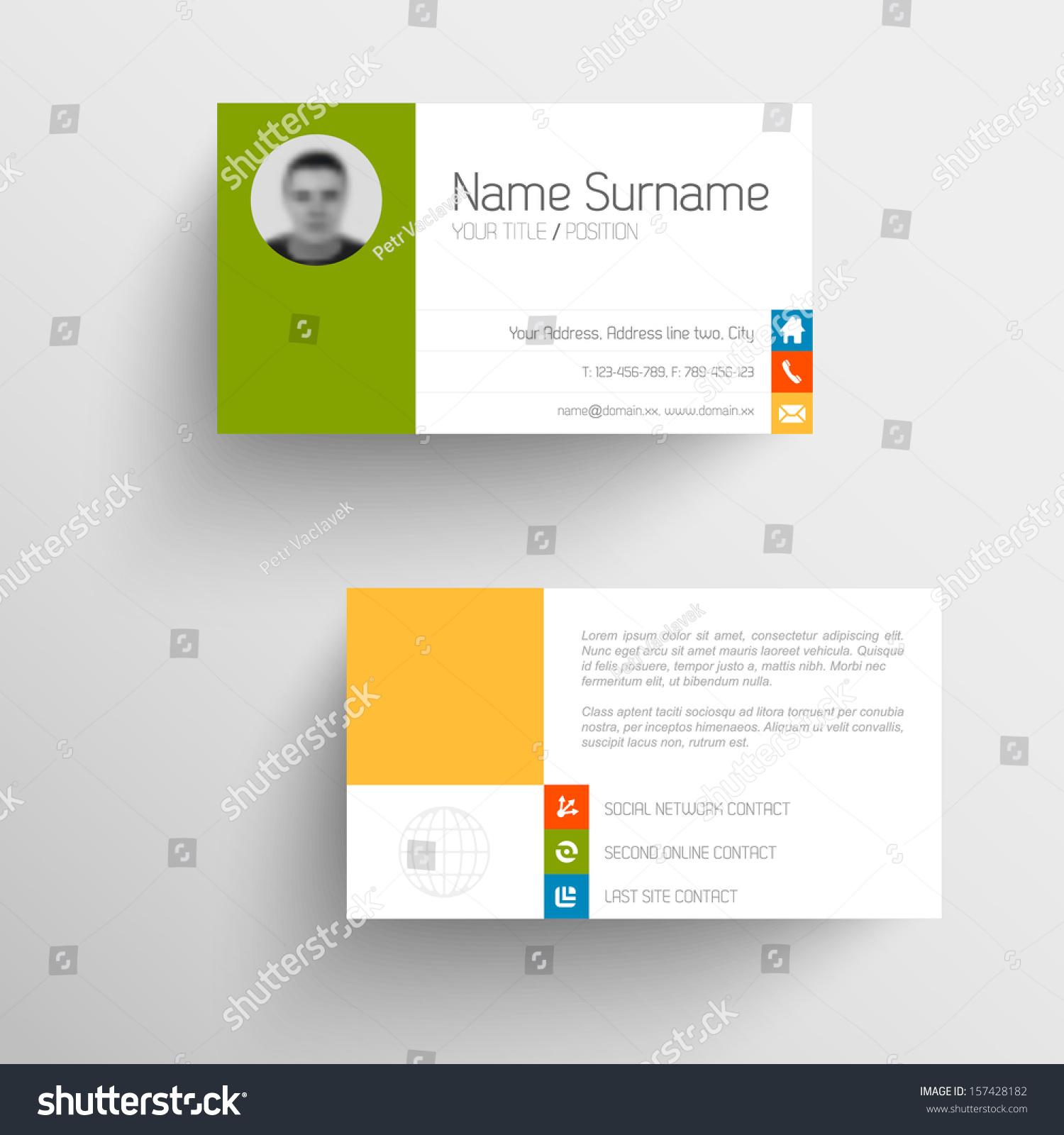modern simple light business card template stock vector 157428182 modern simple light business card template flat user interface