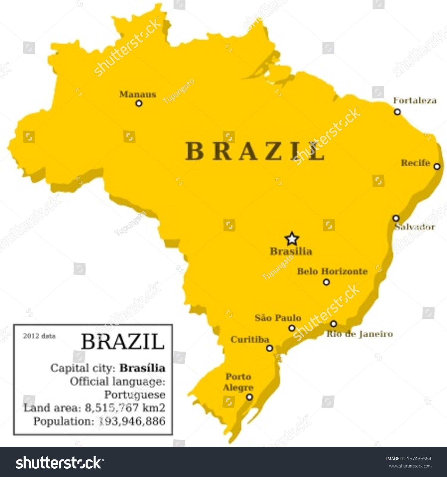 Map Brazil Country Outline Information Box Stock Vector - Map of brazil