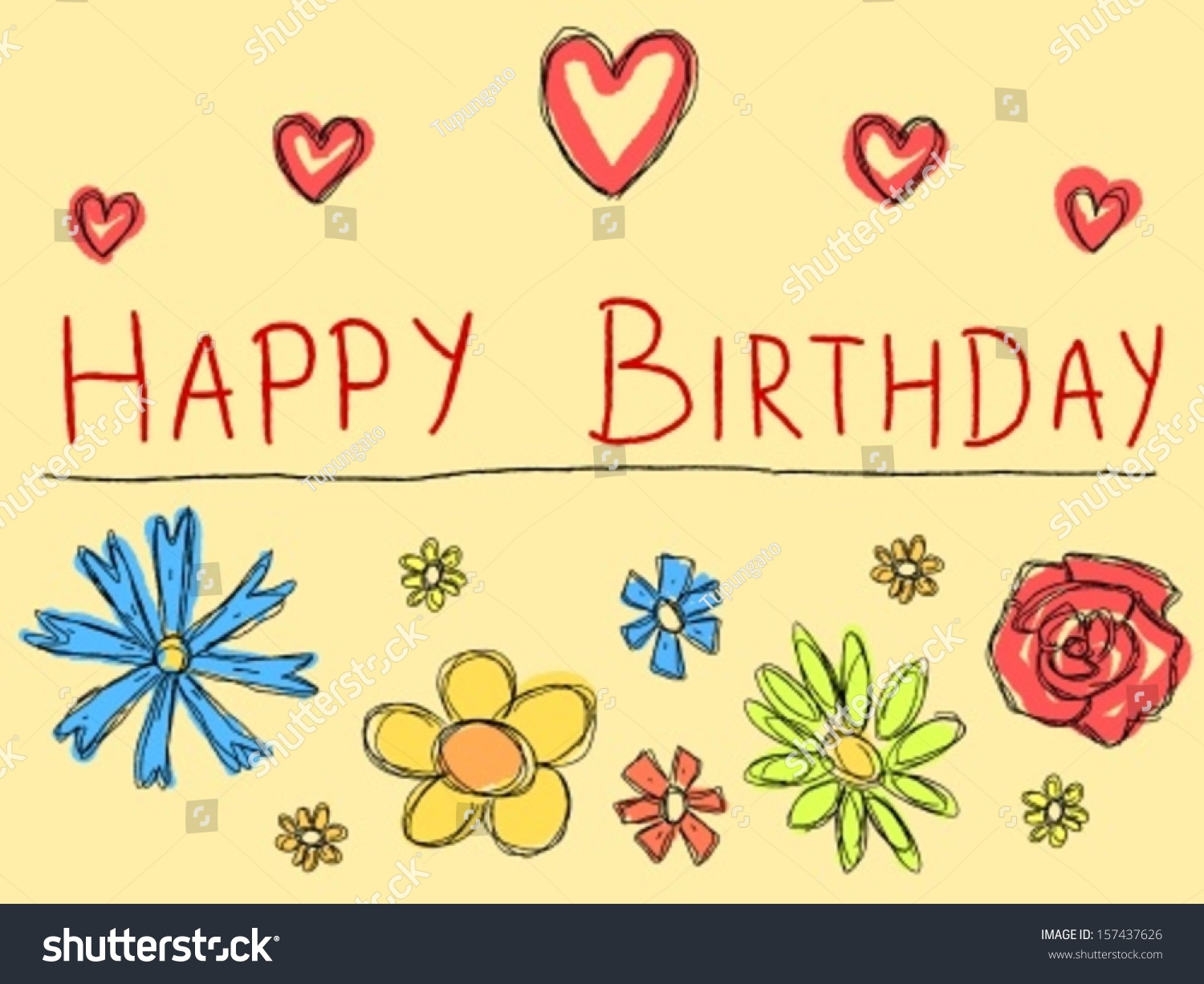Happy birthday greeting card with doodle scrapbook flowers holiday