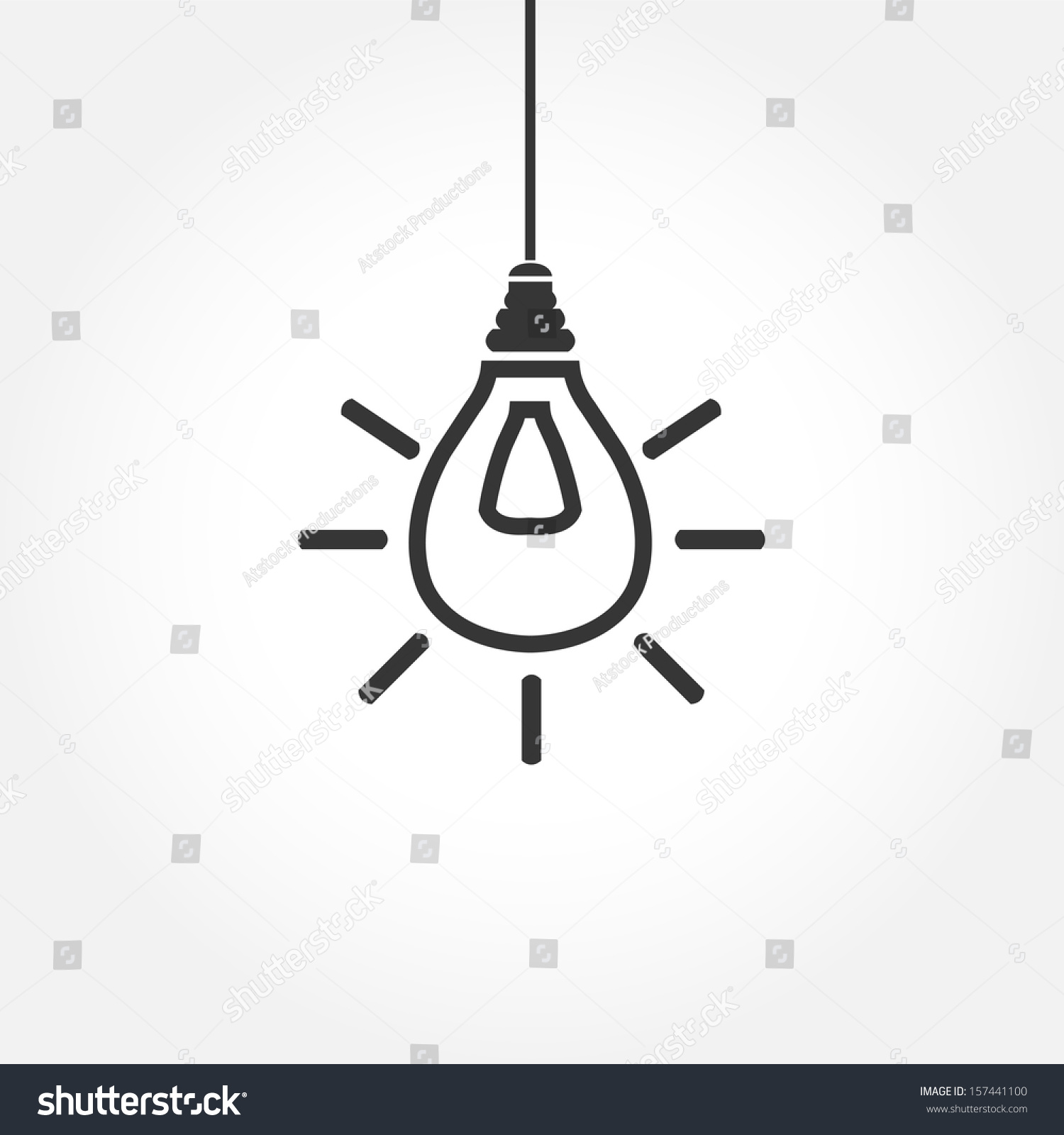 Simple Hanging Light Bulb Outline Stock Vector 157441100