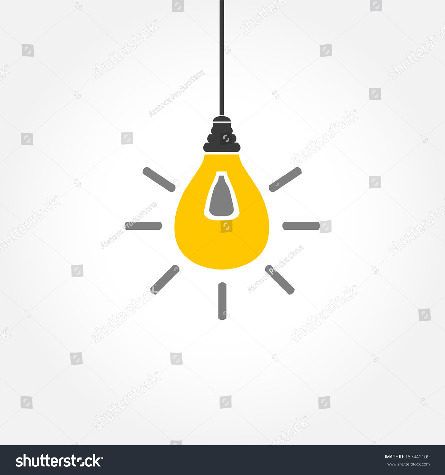 Yellow Hanging Light Bulb On White Stock Vector 157441109