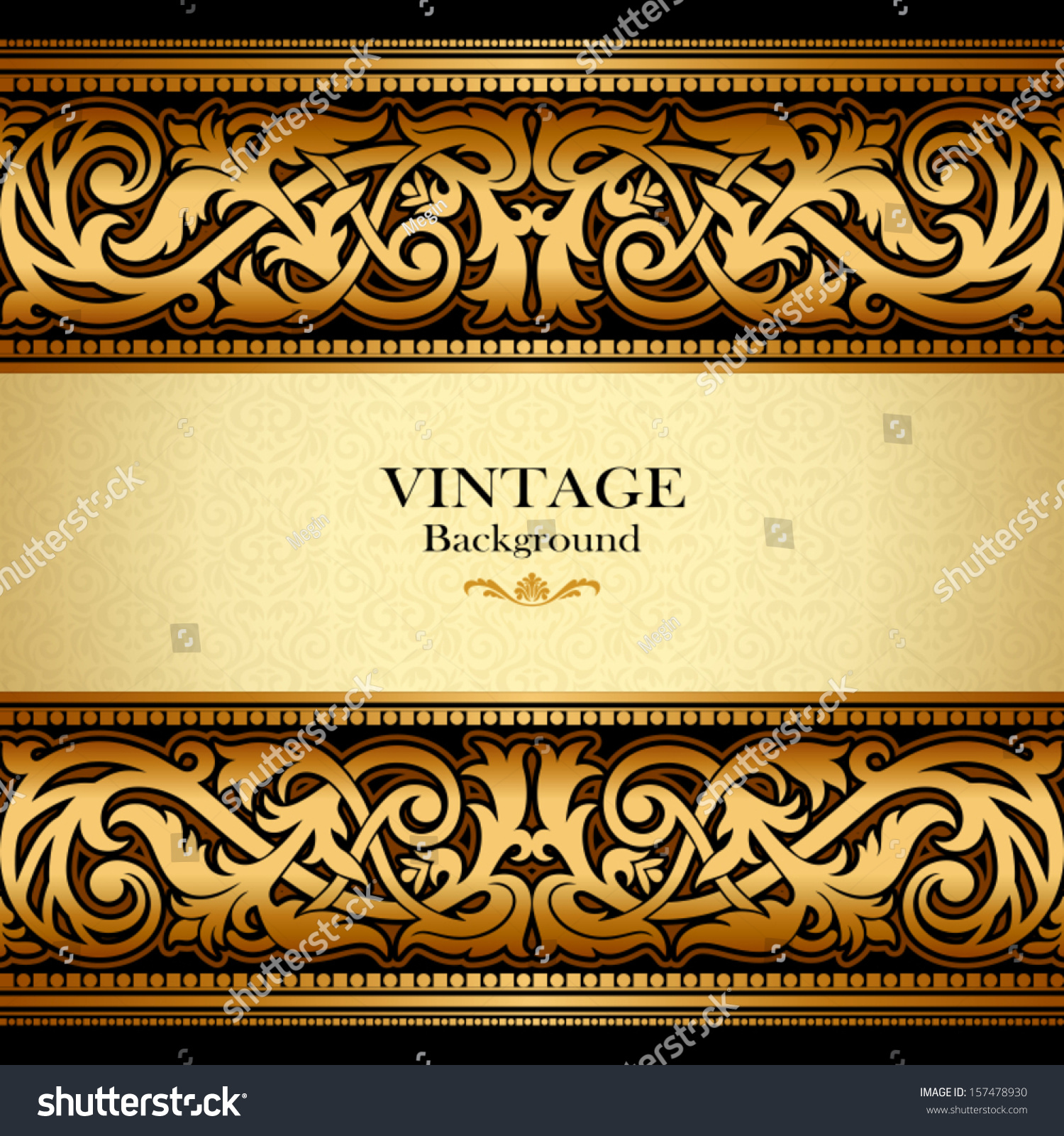 Vintage background ornate baroque pattern vector illustration stock -  Vectors Illustrations Footage Music Vintage Gold Background Antique Victorian Ornament Baroque Frame Beautiful Old Paper
