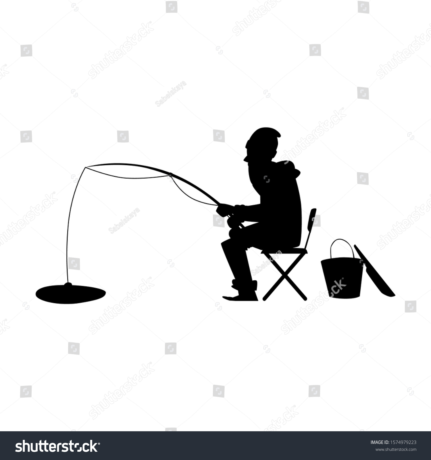 black silhouette man on winter fishing stock vector royalty free 1574979223 https www shutterstock com image vector black silhouette man on winter fishing 1574979223