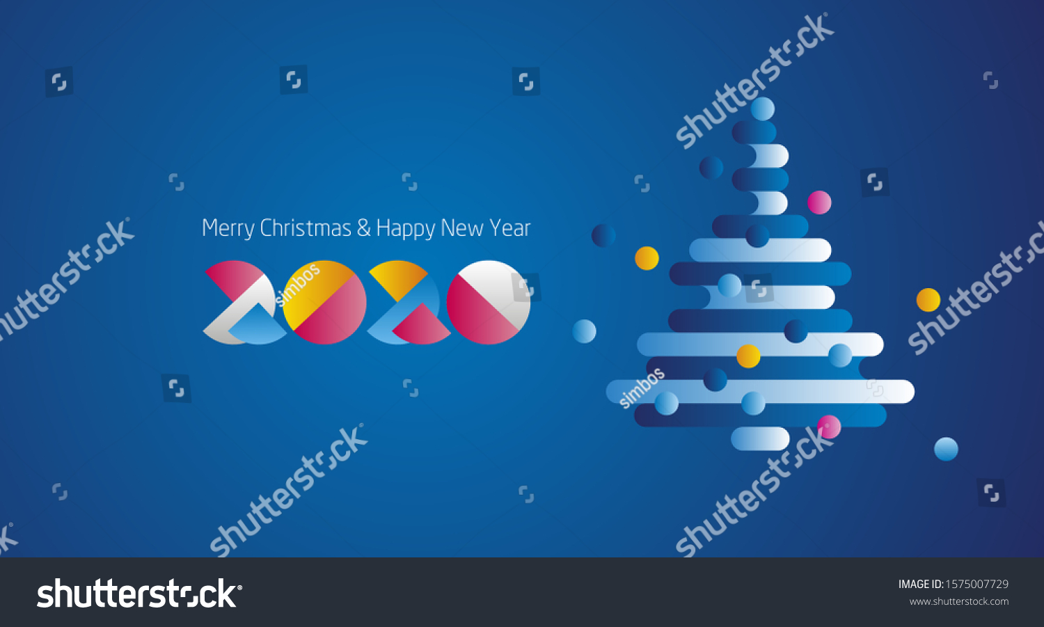 Merry Christmas Happy New Year 2020 Stock Vector (Royalty Free