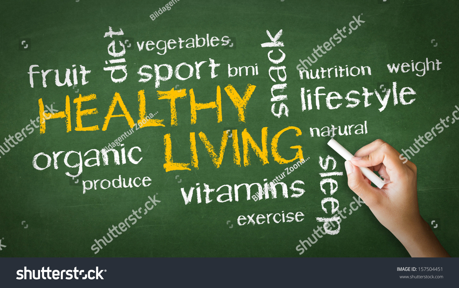 Healthy Living Chalk Drawing Stock Illustration 157504451 ...