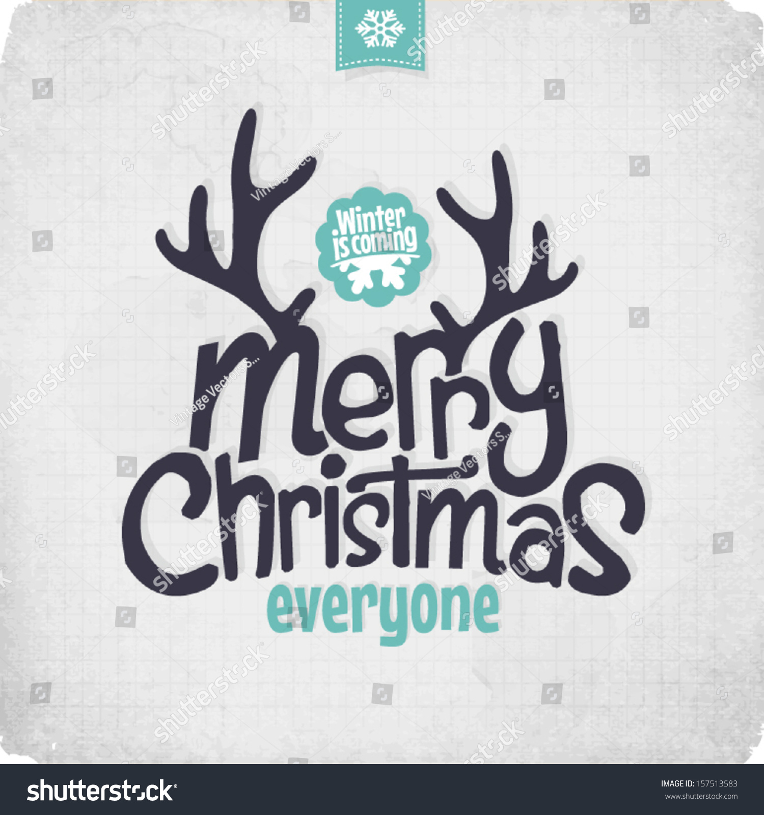 Retro Vintage Merry Christmas Greeting Card Stock Vector