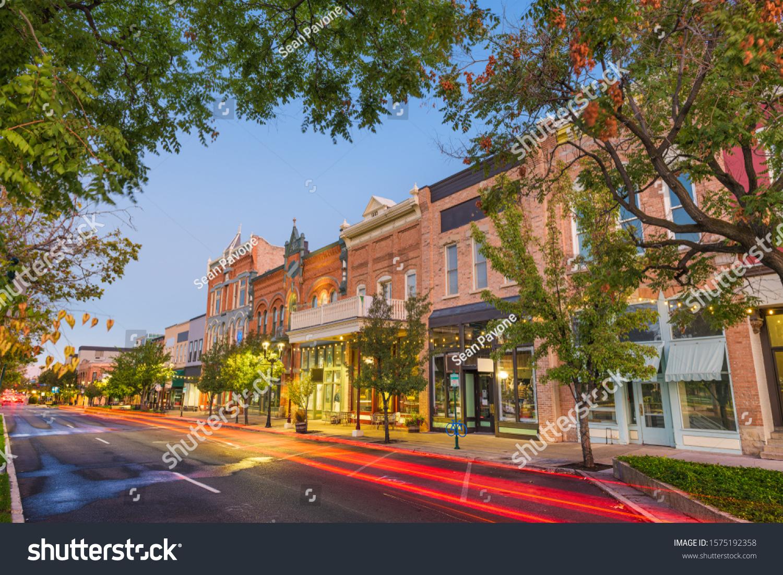 Provo, Utah, USA downtown on Center Street at dusk. #1575192358