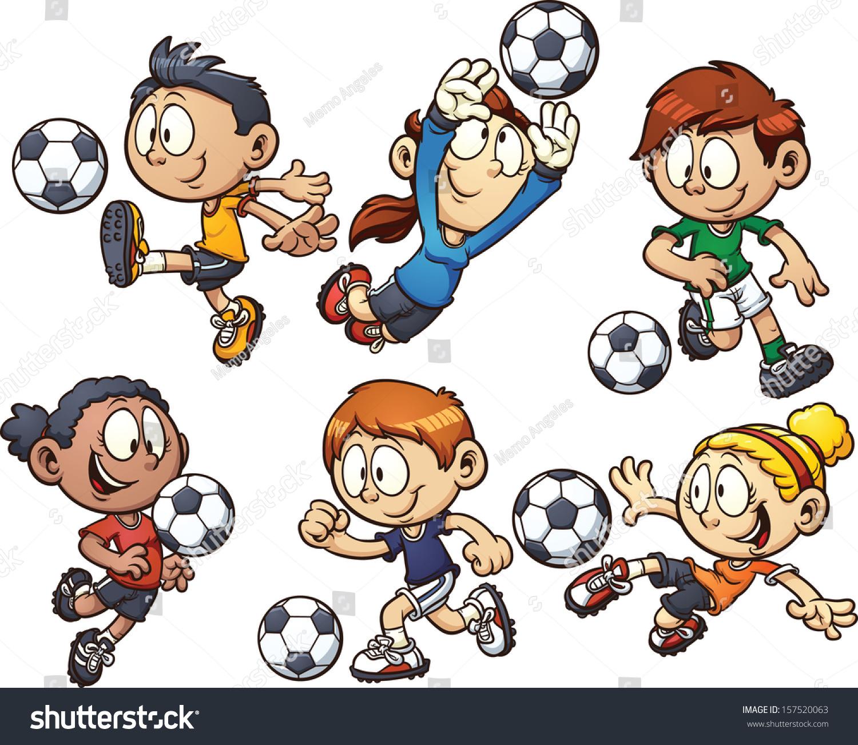 Cartoon Soccer Kids Vector Clip Art Stock Vector 157520063 ...